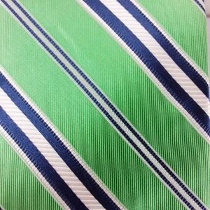 Nautica Neck Tie Green Blue Striped 100% Silk